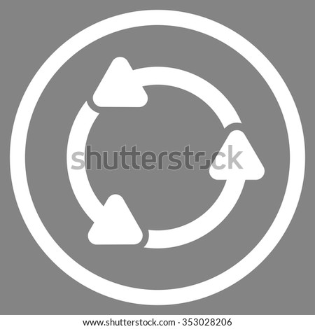 Rotate Ccw vector icon. Style is flat circled symbol, white color, rounded angles, gray background.