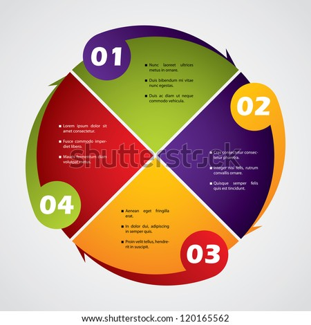 Rotateing business diagram design with numbers and text - stock vector