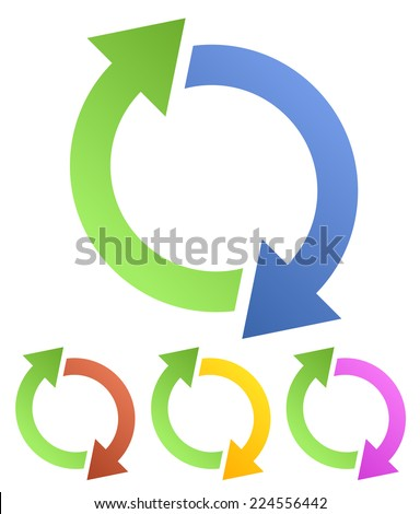 Rotating, circular, cyclic arrows (Spin, twist, rotation, change, sync, synchronization, reverse, refresh, swap, update concepts, icons) - stock vector