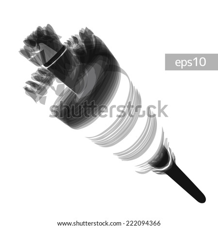 Rotating drill - perspective vector illustration - stock vector