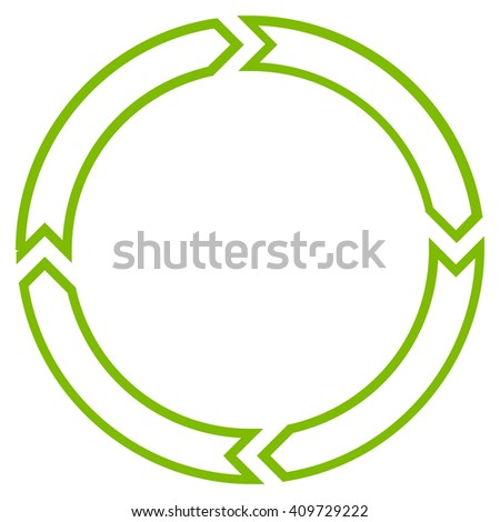 Rotation Circle vector icon. Style is thin line icon symbol, eco green color, white background.