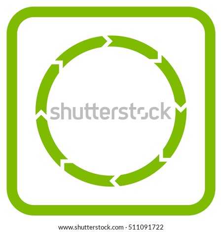 Rotation eco green vector icon. Image style is a flat pictogram symbol in a rounded square frame on a white background.
