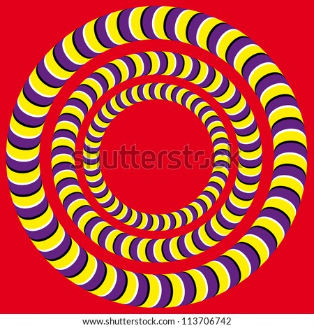 Rotation (Optical illusion). Bright background with the optical illusion of rotation of circles - stock vector
