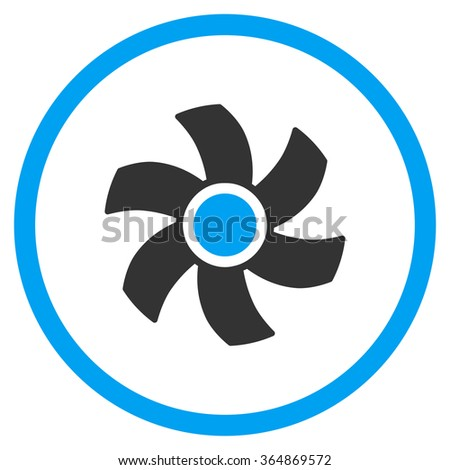 Rotor vector icon. Style is bicolor flat circled symbol, blue and gray colors, rounded angles, white background. - stock vector