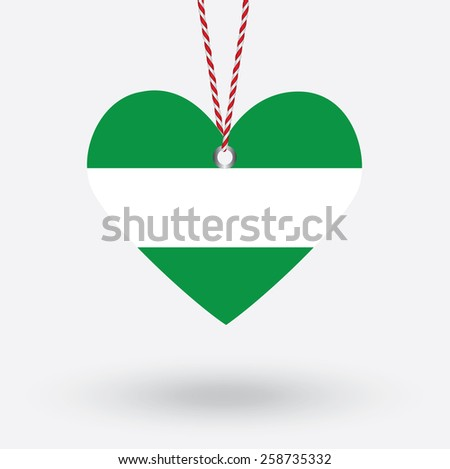Rotterdam city flag in the shape of a heart with hang tags - stock vector