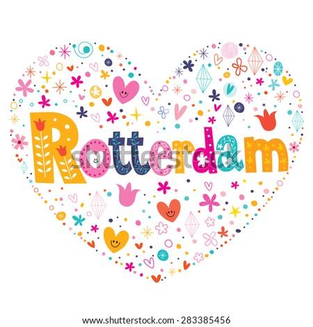 Rotterdam heart shaped type lettering vector design - stock vector