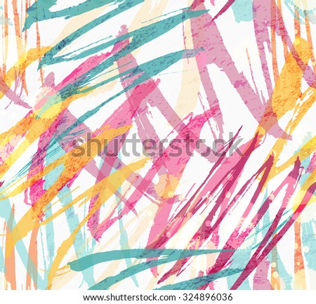 Rough brush colored and stained.Abstract colorful seamless background. Stained and grunted texture over hand drawn paint brush ornament. - stock vector