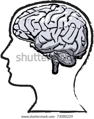 Rough but thoughtful sketch-like grunge of human brain in a silhouette head - stock vector