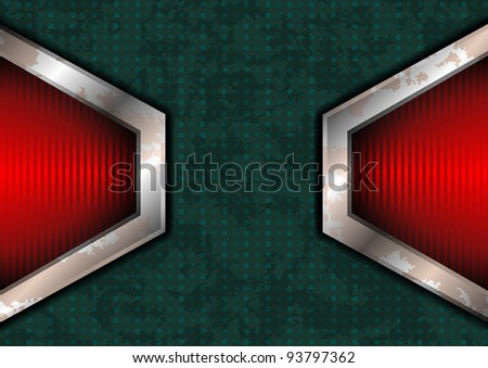 Rough dotted surface with red lights on the edges - stock vector