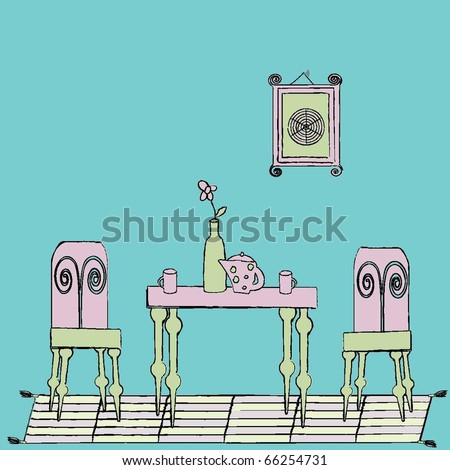 Rough edged shabby chic kitchen set - stock vector