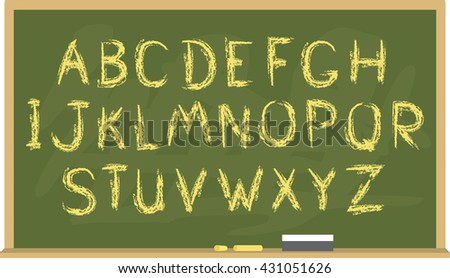 Rough hand-drawn font on chalkboard background. Vector illustration - stock vector