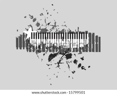 Rough Piano musical theme T-shirt design vector - stock vector