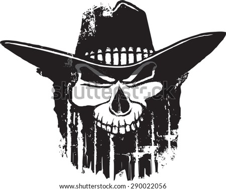 Rough Rider  Cartoon outlaw skull with western hat. Vector file.