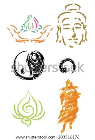 rough sketch buddhism icon,Vector - stock vector