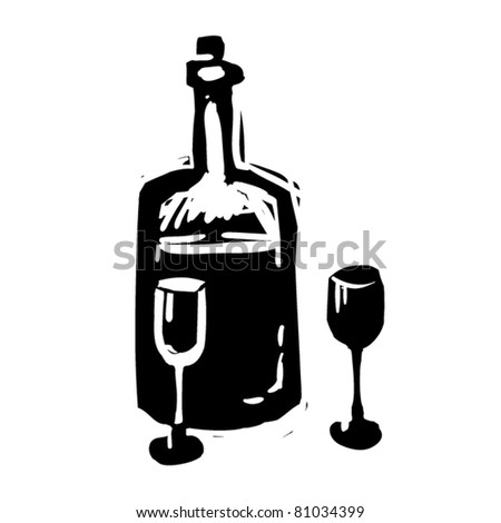 rough woodcut illustration of a bottle with glasses - stock vector