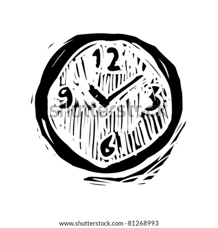 rough woodcut illustration of a clock - stock vector