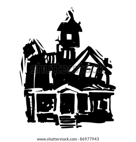 rough woodcut illustration of a halloween castle - stock vector