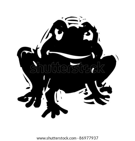 rough woodcut illustration of a halloween toad - stock vector
