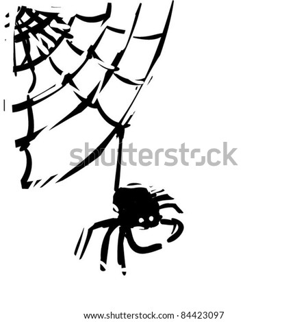 rough woodcut illustration of a spider - stock vector