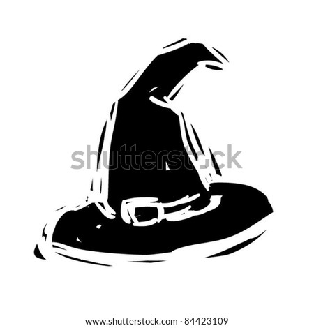 rough woodcut illustration of a witch hat - stock vector