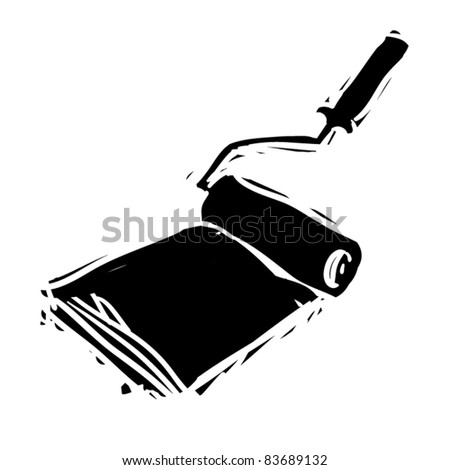 rough woodcut illustration of roller with paint - stock vector