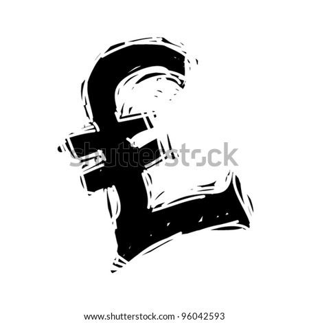 rough woodcut illustration symbol of pound - stock vector