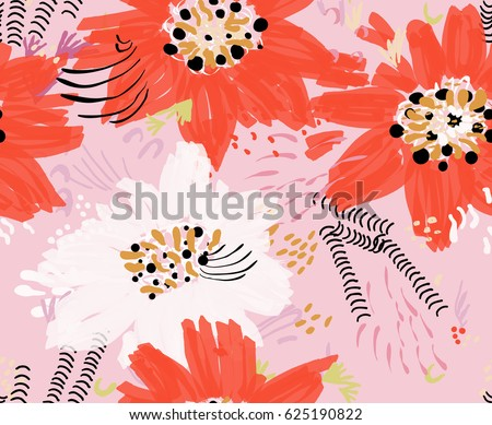 Roughly drawn spring flowers and seeds.Abstract seamless pattern. Universal bright background for greeting cards, invitations. Had drawn ink and marker watercolor texture.