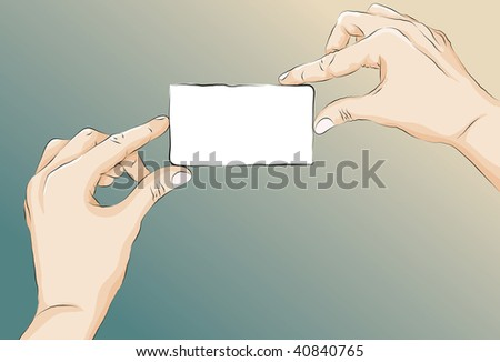 Roughly drawn stylized hands holding a card. Lines, main shape fill, highlights/shading, card fill and background are all on separate layers. - stock vector