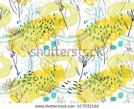 Roughly sketched dandelion flower yellow white.Creative abstract colorful seamless pattern.  Universal bright background for greeting cards, invitations. Had drawn ink and marker texture.
