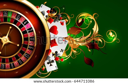 Roulette and playing cards on a green background