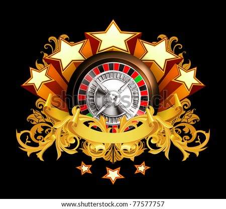 Roulette insignia on black, 10eps - stock vector