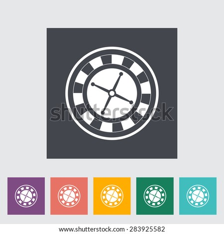 Roulette. Single flat icon on the button. Vector illustration. - stock vector