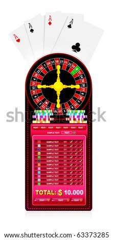 roulette table with various gambling and casino elements - stock vector