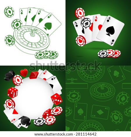 Roulette Vector Casino Backgrounds set - stock vector
