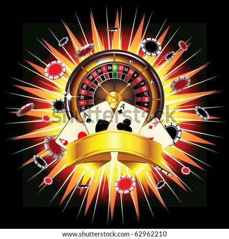 Roulette wheel, chips and cards on bursting background - stock vector