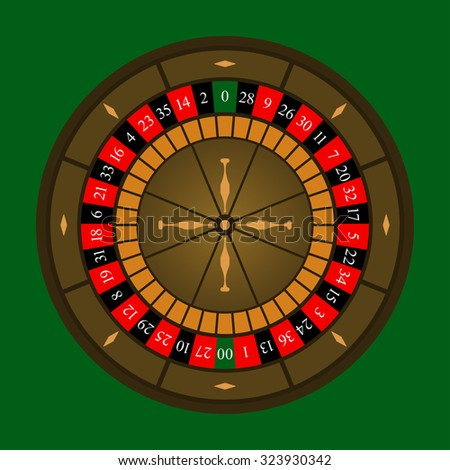 Roulette wheel icon over green background. Vector illustration.