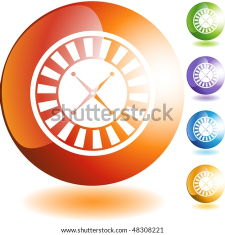 Roulette wheel icon web button isolated on a background.