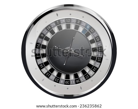 Roulette wheel isolated on white background  - stock vector