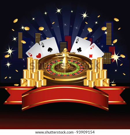 Roulette wheel with coins and cards - stock vector