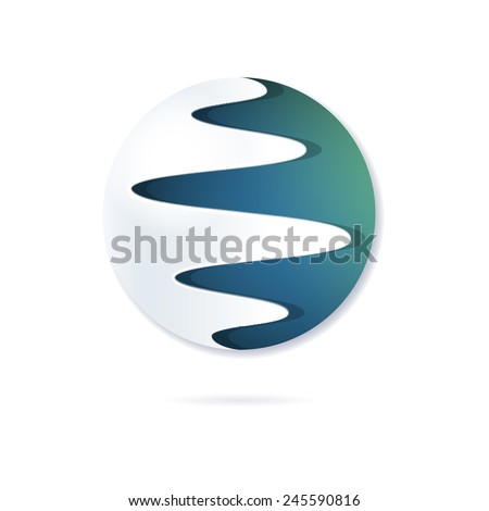 Round abstract symbol, stylized planet, symbol of flexibility, integration, combination. Can be used as corporate logo, logo for project, web-icon. Vector, isolated - stock vector