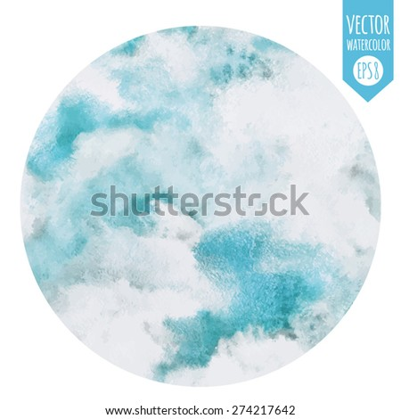 Round abstract watercolor vector background. Cloudy heaven. Circle shape. Blue sky, shades of white. Painted backdrop. Fresco imitation. - stock vector