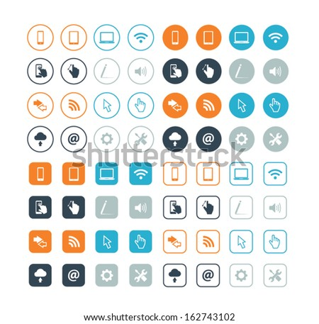 Round and circle computer vector icons eps10 - stock vector