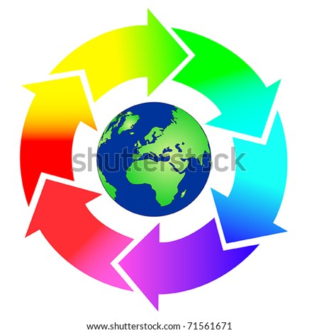 Round arrows in rainbow colors with earth in the middle. Also available as jpeg. - stock vector