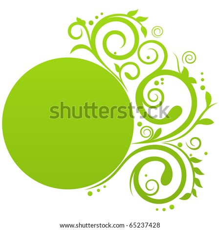 Round banner in green color with floral decoration and free space for Your text - stock vector