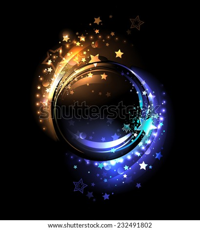 round banner with glowing warm yellow stars and cold, blue stars - stock vector