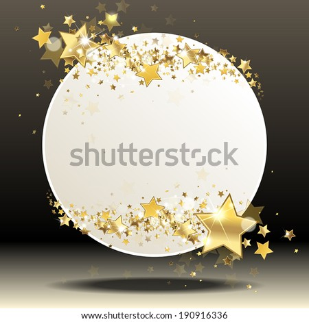Round banner with gold stars - stock vector