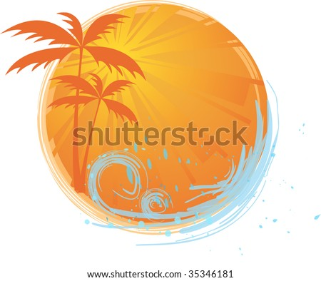 Round banner with palms and ocean's wave and water splash