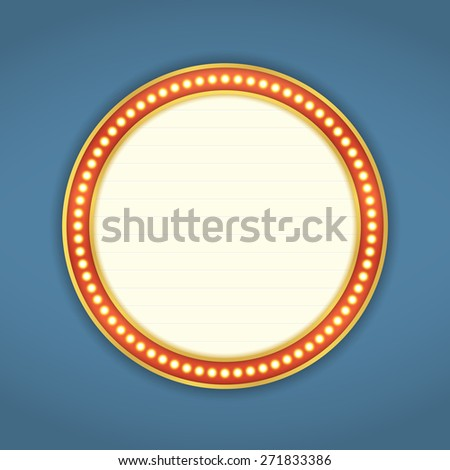 Round banner with retro lights, vector eps10 illustration - stock vector