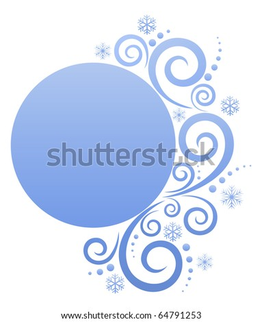 Round banner with wintry elements. Blank banner for Your text - stock vector