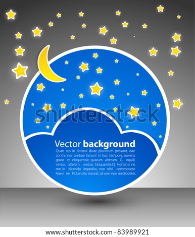 Round blank. star sky with moon. - stock vector